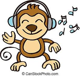 música, crianças, desenho, macaco, escutar