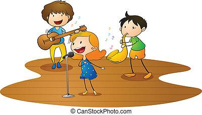música, crianças, tocando