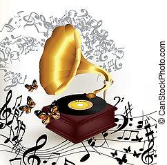 música, criativo, antigas, fundo