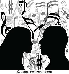 música, de, amor