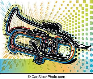 música de instrumento, ilustración