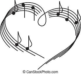 música, de, love.