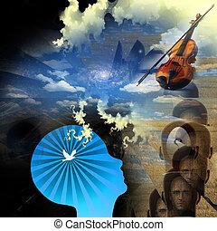 música, de, mente