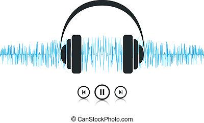 música de sonido, ondas