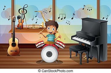 música, dentro, drummerboy, habitación, feliz
