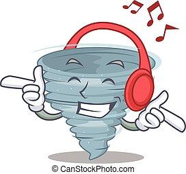 música, desenho, conceito, caricatura, tornado, escutar
