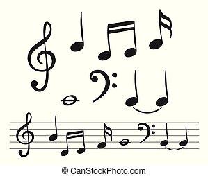 música, desenho, decoração, notas