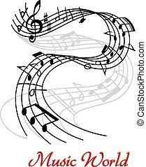 música, desenho, onda, abstratos