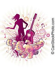 música, desenho, themed, elemento