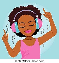 música, desfrutando, mulher, pretas