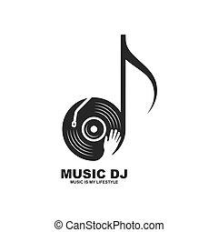 música, disco, vector, mano, vinilo, jinete, icono, diseño, ...