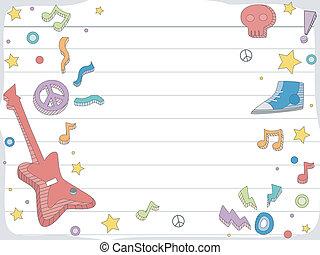 música, doodle, fundo