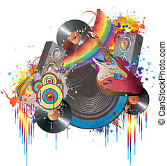 música, e, cores