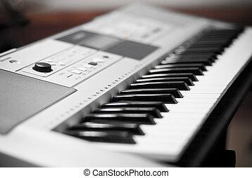música, eléctrico, keybord