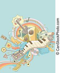 música, elementos, doodle, fundo, 2