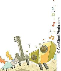 música, elementos, doodle, fundo