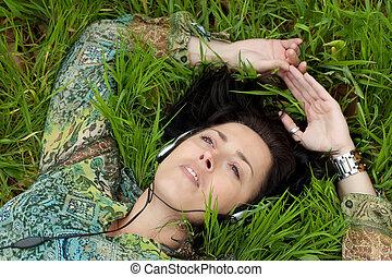 música, em, natureza