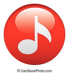 música, emblema, vermelho, ícone