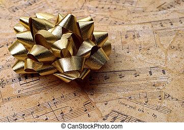 música, embrulhando, presente