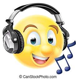 música, emoticon, emoji, auriculares, llevando