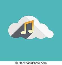 música, en, nube, plano, diseño, icono