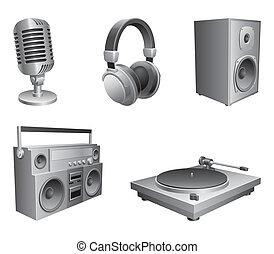 música, equipment.