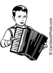 música, esboço, acordeão, menino, jogos