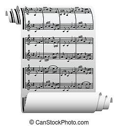 música, escrito, en, papel