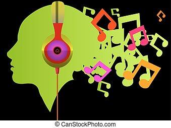 música, escutar, ilustração