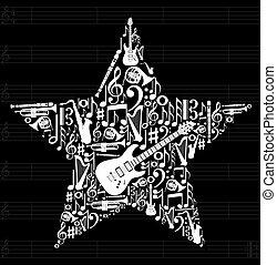 música, estrela, fundo