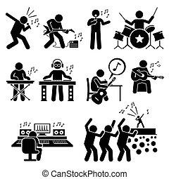 música, estrela, rocha, músico, artista