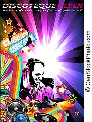 música, evento, fundo, com, dj, forma, e, colours arco-íris