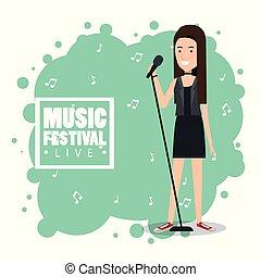 música, festival, viver, com, mulher, cantando