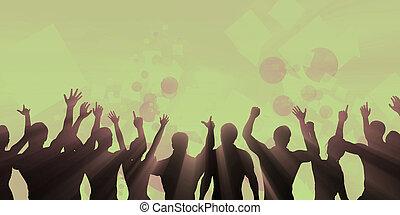 música, fiesta, multitud