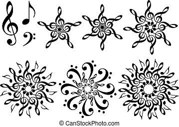 música, flores, vector, conjunto