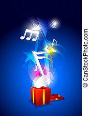 música, flotar, de, caja obsequio