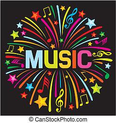 música, fogo artifício, (music, design)