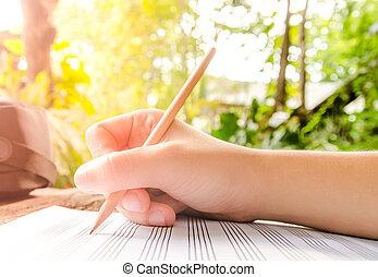 música folha, mão