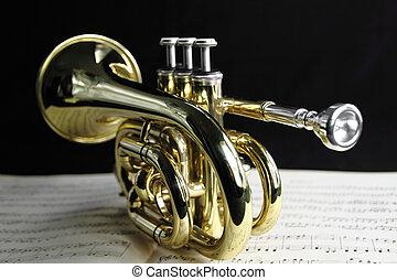 música folha, trompete