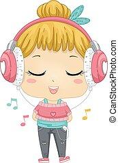 música, fone, menina, escutar, criança