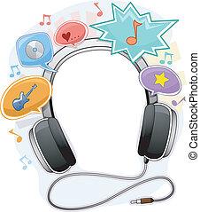 música, fone, quadro, fundo
