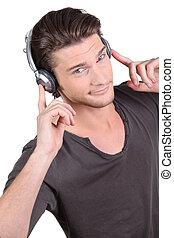 música, fones, através, escutar, homem