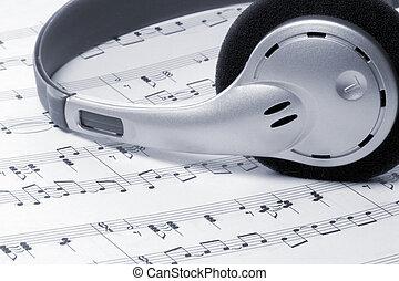 música, fones