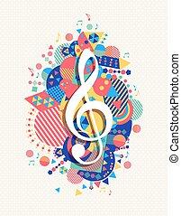 música, forma, nota, clave g, triplo, cor, ícone, conceito