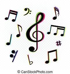 música, forma, sinal, notas, jogo, glitch, colorido