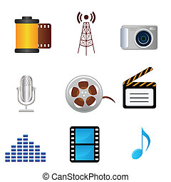 música, fotografia, ícones, película, mídia