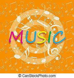 música, fundo alaranjado