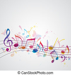 música, fundo, com, borboletas