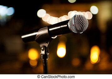 música, fundo, com, microfone, e, concerto, luzes