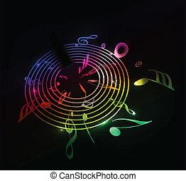 música, fundo, nota